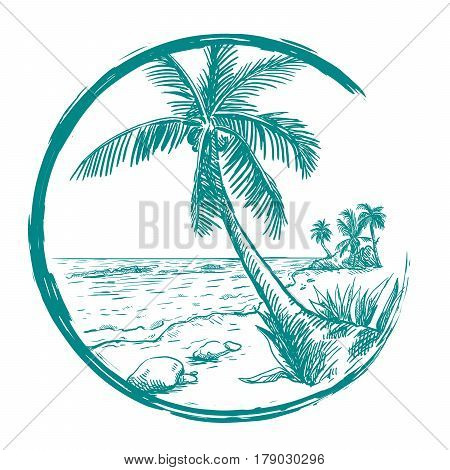 Beach and palm tree. Summer time. Sketch drawn by hand