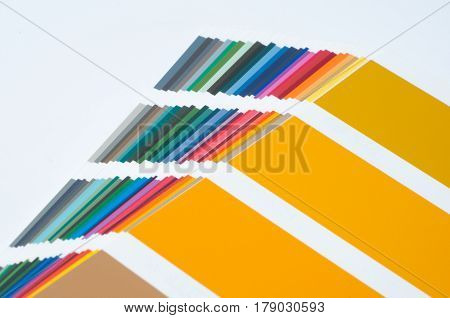 Color swatch, catalog. Colored palette of paint