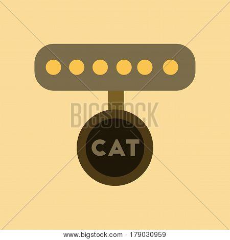 flat icon on stylish background cat collar