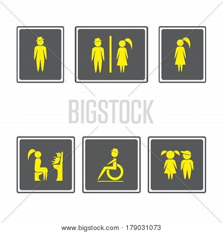 Toilet Signs Restroom Signboards.Boy and girl icon.man and woman icon.Family icons set.Vector illustration