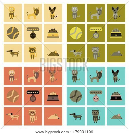 assembly of flat icons pets and accessories