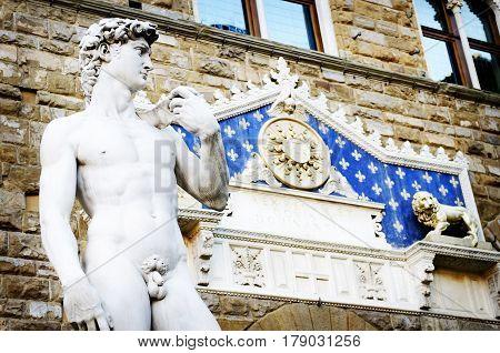 Statue of David in Florence's Piazza della Signoria, Tuscany. Italy