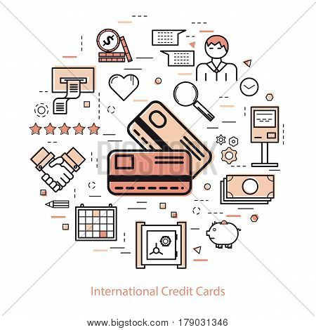Vector round concept of International credit cards or easy payment in thin line style. Two red credit cards, businessman, device and finance icons. Modern round web banner