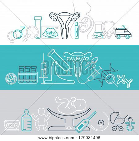 Banner template with different research symbols including ultrasound In vitro fertlization gynecological chair pregnancy test pregnant woman. Line style vector illustration