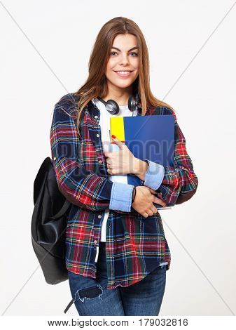 Young Happy Female Student With Books Isolated On White Background.