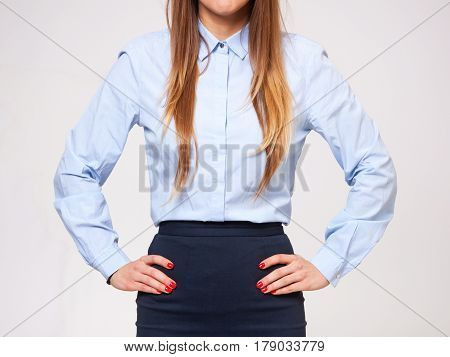 Midsection Of Young Business Woman Standing In Formal Dress.