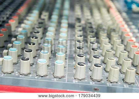 Music mixer desk buttons top view perspective
