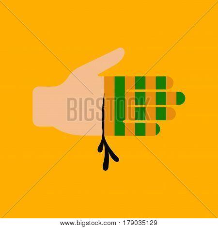 flat icon on stylish background bloody hand