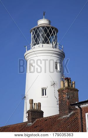 Lighthouse at Southwold, Suffolk, England, against a blue sky