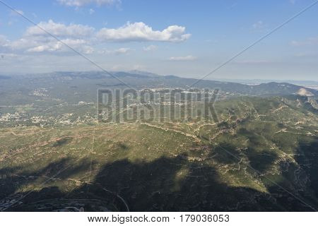 Landscape Aerial view from montserrat monastery in catalonia, spain
