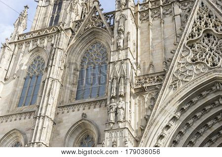 Gothic, Facade of the Cathedral of Barcelona located in the old part of the city, catalonia, spain