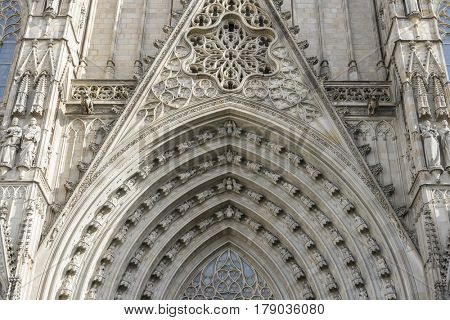 Main gate, Facade of the Cathedral of Barcelona located in the old part of the city, catalonia, spain