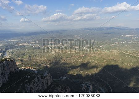 Aerial view from montserrat monastery in catalonia, spain