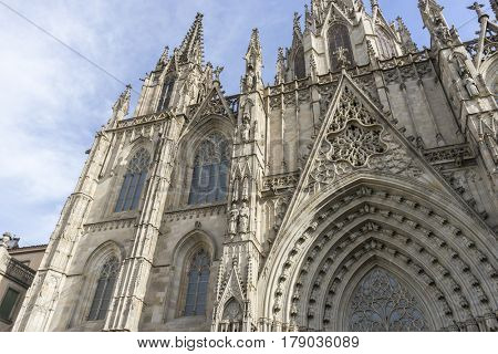 Tourism, Facade of the Cathedral of Barcelona located in the old part of the city, catalonia, spain
