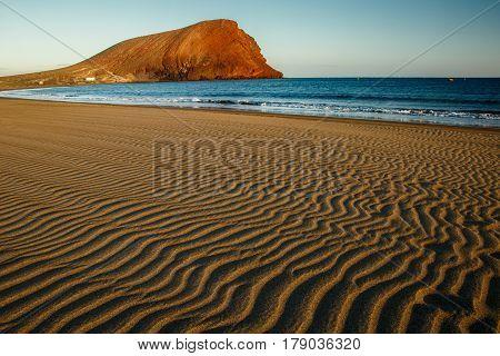 The Tejita Beach with Montana Roja hill in background, Tenerife, Canary Islands