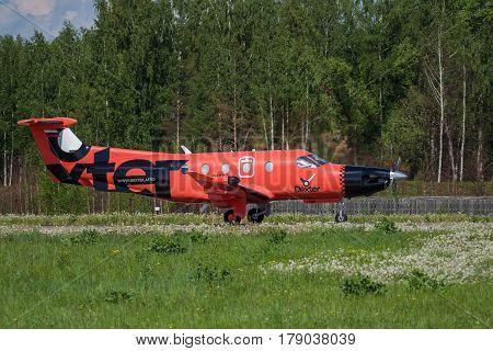 Yaroslavl Russia 27 May 2016: Airplane landing. Dexter Pilatus PC-12/47E (RA-01504). Tunoshna Airport