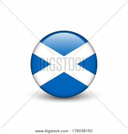 St Andrew's Cross flag of Scotland round glossy button with shadow