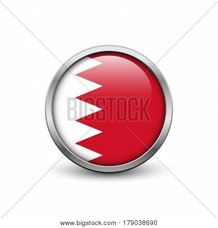 Flag of Bahrain button with metal frame and shadow