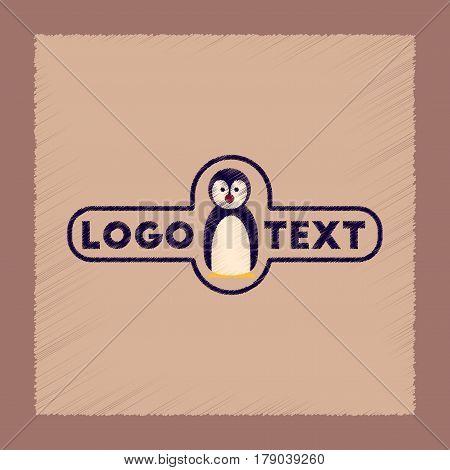 flat shading style icon of penguin logo