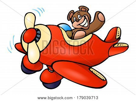 illustration of a cute bear riding plane on isolated white background