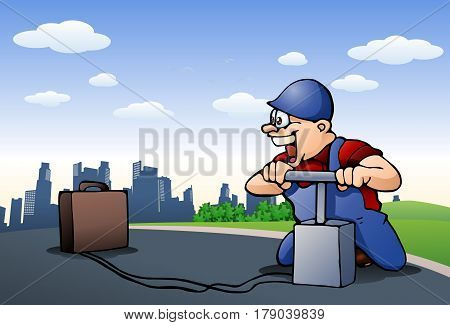 illustration of a worker ready to blow up suitcase on city background