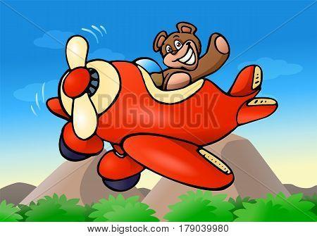 illustration of a cute bear riding plane on nature background