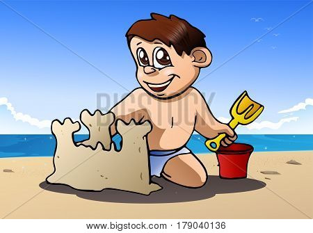 illustration of a boy play build sand castle on the beach background