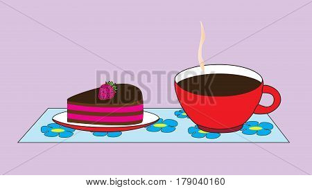 A cup with a hot cocoa drink and a saucer with a cake isolated by a neutral background.