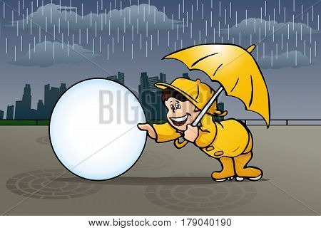 illustration of a boy playing in the rain on city background