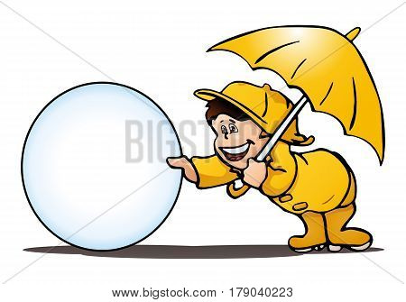 illustration of a boy playing in the rain on isolated white background