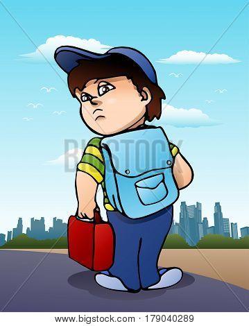 illustration of a boy ready to go on city background