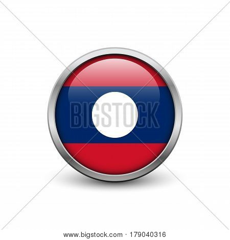 Flag of Laos button with metal frame and shadow