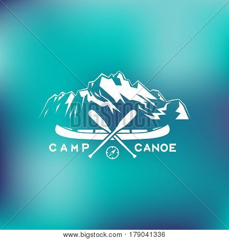 Template for logo label and emblem with two paddles canoe mountains and compass. Vector illustration.