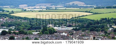 Outskirts of the city of Exeter. farmland begins next to a residential area. Devon. England