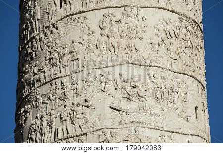 Detail of Trajn Column in Rome with ancient battles between roman legions and dacian barbarians