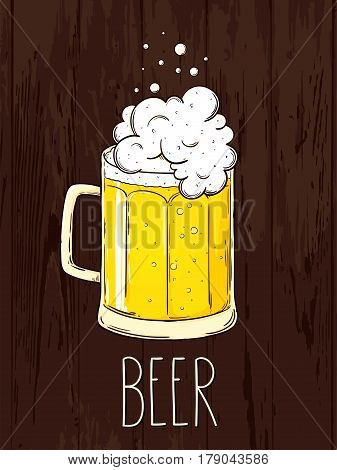 Hand-drawn single mugs with a light beer on wooden bachground. Oktoberfest poster vector illustration. Eps 10
