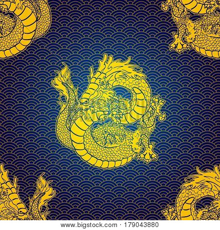 Cheerfull Water Asian chinese dragon and scales. Gold contour on blue background. Seamless pattern. Vector illustration.