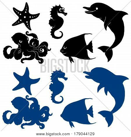 Set of silhouettes of five lovely marine animals. Black and blue options separately on a white background. Vector illustration.
