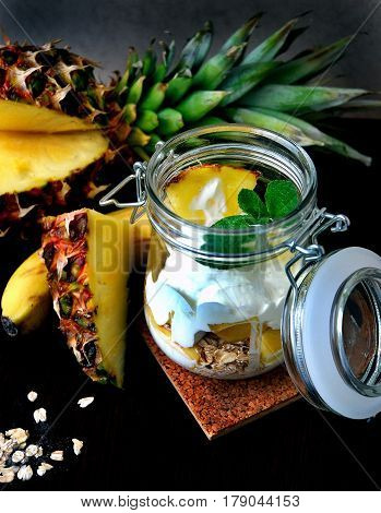 Suggest still life with fruit. Useful suggest with pineapples, bananas, oatmeal and yogurt.