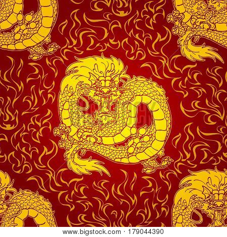 Playful gold Asian chinese dragon and fire. Gold contour on red background. Seamless pattern. Vector illustration.