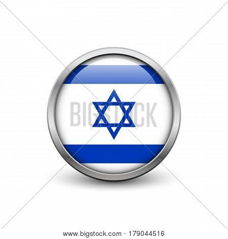 Flag of Israel button with metal frame and shadow