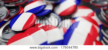 Parliamentary and presidential elections in France 2017 on a white background 3D illustration