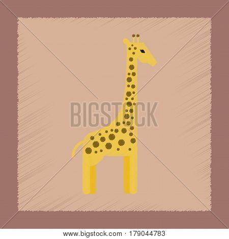 flat shading style icon of cartoon giraffe