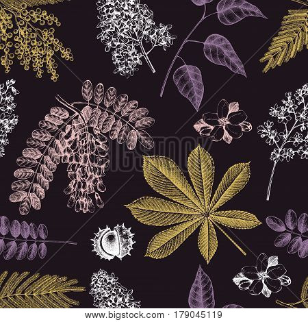 Seamless pattern with hand drawn blossoming trees illustrations. Vector botanical background. Hand sketched elements.