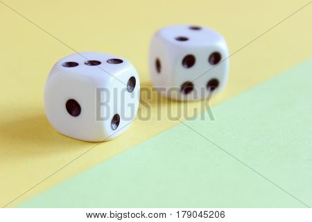 A pair of cubes close-up for table games and not only.