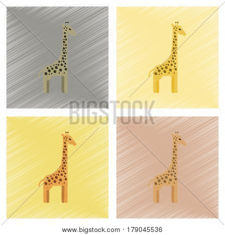 assembly flat shading style icons of cartoon giraffe
