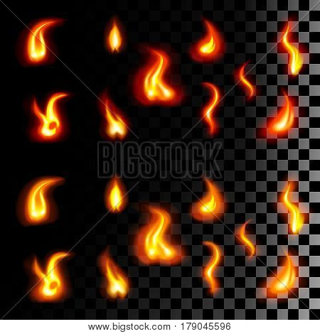 Set of nine kinds of tongues of flame of red-orange and yellow-orange colors on transparent background. Realistic vector illustration. Candle, fireplace, fire.