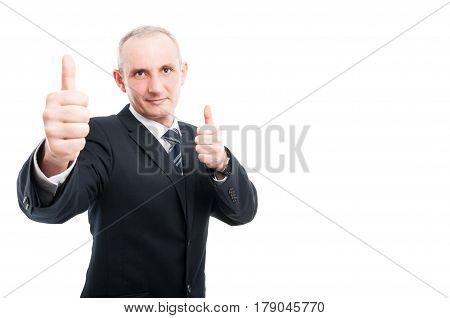 Portrait Of Aged Elegant Man Showing Thumb Up