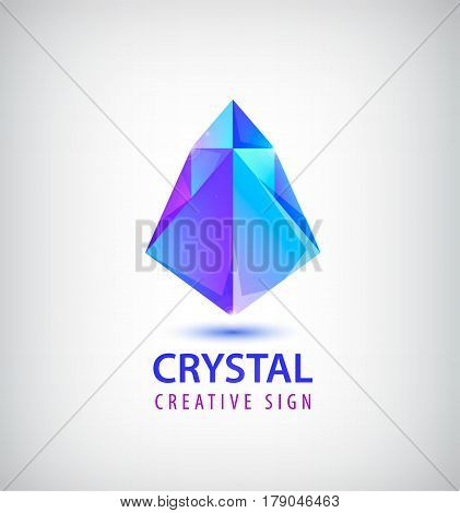 Vector 3d faceted origami logotype, abstract crystal logo, icon isolated. Futuristic creative identity idea, company sign