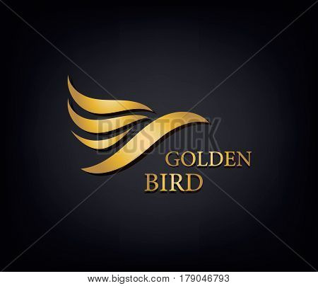 Golden Phoenix, bird brand, animal logo, luxury brand identity for hotel fashion and sports brand concept. Vector design, company identity